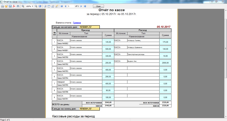 Пример создание отчетов